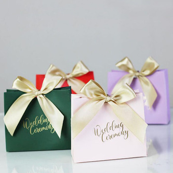 100pcs Wedding Favors Candy Box Gift Bags With Ribbon Chocolate Box Party Sweets Gift Favours Wrap Engagement Decoration ZA6102