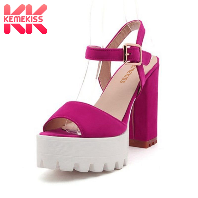 KemeKiss Size 32-43 Ladies High Heel Sandals Women Ankle Strap Platform Thick Heel Shoes Open Toe Sandals Casual Footwear 2016 package with high heeled sandals women s shoes formal platform thick heel open toe shoe 40 43 plus size women s small yards