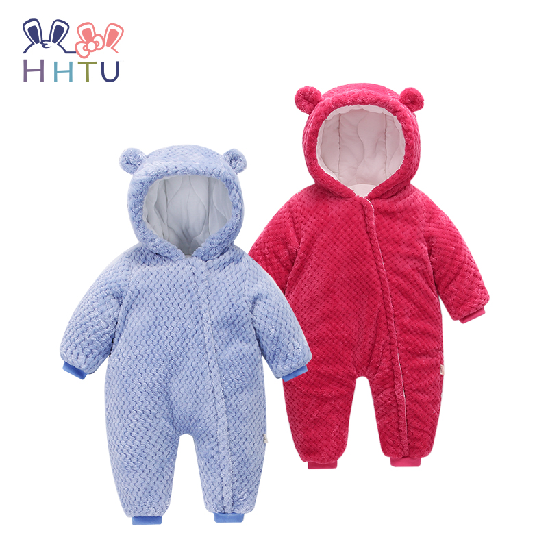 HHTU Baby Rompers Keep Thick Warm Infant Jumpsuit Newborn Baby Boys Girls Winter Clothes Hooded Kid Outerwear Zipper for 0-24M free shipping winter newborn infant baby clothes baby boys girls thick warm cartoon animal hoodie rompers jumpsuit outfit yl