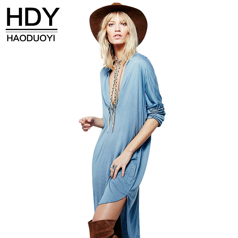 HDY Haoduoyi 2017 Summer Fashion Women Deep V-Neck Pocket Dress Casual Three Quarter Sleeve Loose Side Split High Low Dress