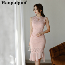 Plus Size Sheath Pink Lace Dress Women Stand Ruffles Midi Wrap Corset Sexy Party Summer 2019 Clothing