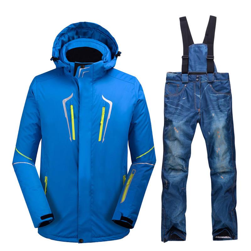 High quality men's ski wear windproof waterproof thick snow clothes snowboard clothing suit winter cowboy bib ski pants