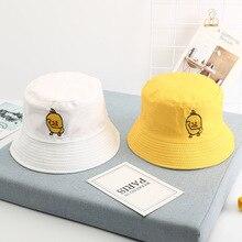 New Cotton Unisex Casual Cute Cartoon Little Yellow Duck Double Side Harajuku Fishing Hat Hip Hop Summer Sun Panama Children