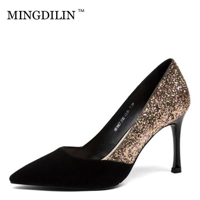 MINGDILIN 접합 천연 가죽 스팽글 얕은 입 패션 여성 하이힐 섹시한 파티 높은 품질 최신 단일 신발