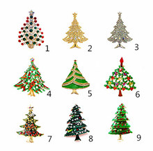 Merry Christmas Tree Multicolored Rhinestone Diamante Christmas Brooch Pin Gift Xmas Jewellery Badge