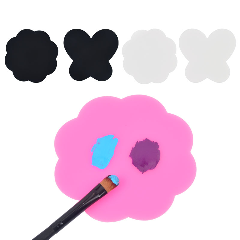 2Pc/Set DIY Women Silicone Paint Palette Mat Butterfly Plum Blossom Washable Nail Stamp Pads Nail Manicure Decoration Tools