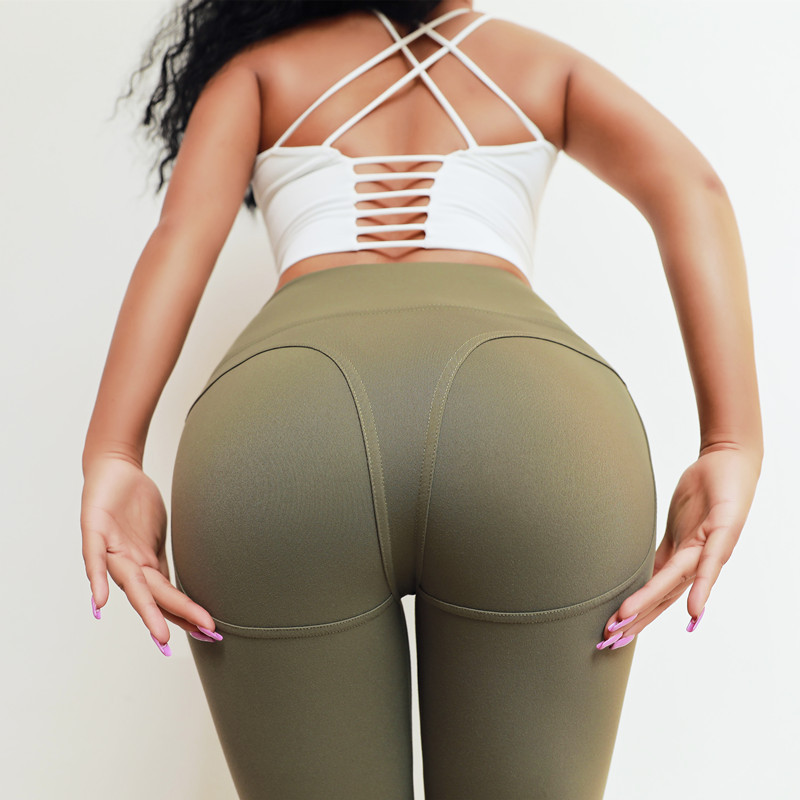 Quality Solid Color Booty Leggings Women Push Up Fitness Leggings Hips Triangle Thick Elastic High Waist Skinny Sporting Pants