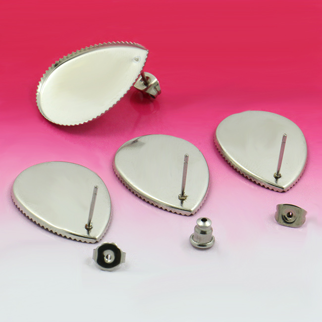 20sets DIY 18 * 25 mm stainless steel water droplets teeth stage Hanging empty tray brank base Stud earring