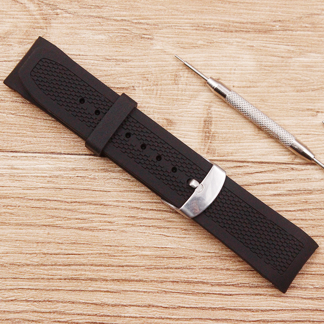 Watch accessories Men's silicone black sports watch belt Waterproof and sweat-proof 22mm pin buckle Men's watch strap