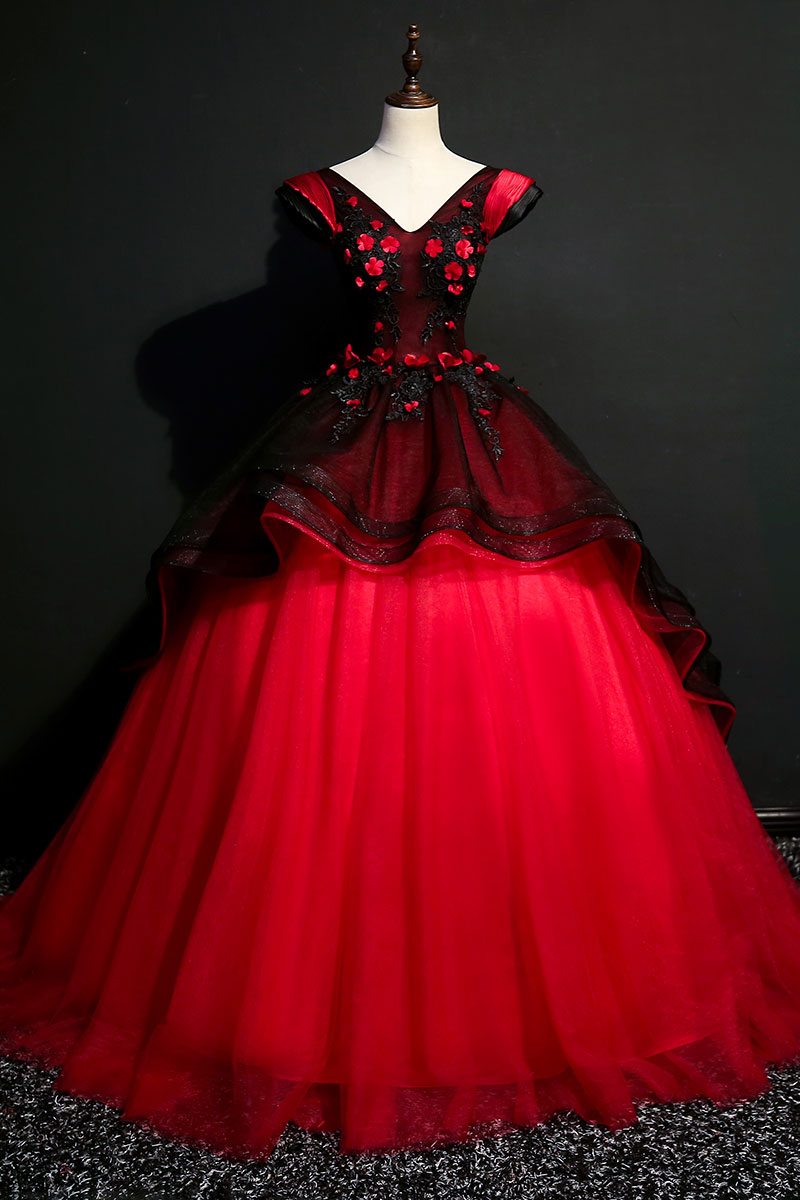 100% real black&red coronation queen cosplay ball gown medieval ...
