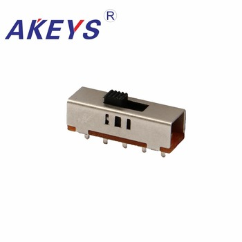 10PCS SS-23E03G2 2P3T Double pole three throw 3 position slide switch 5 solder lug pin DIP type without fixed pin