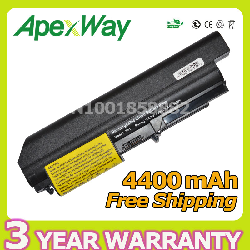 Laptop Accessories Apexway 6 Cells 4400mah For Lenovo Thinkpad T60 T60p T61 R60 R61 Z60 92p1133 42t4619 92p1138 42t5246 42t4572 42t4511