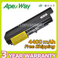 Apexway 4400 mah de 6 celdas de batería del ordenador portátil para lenovo thinkpad r61 t61 t61p series r400 t400 42t4548 42t5262 42t5264 asm 42t5226