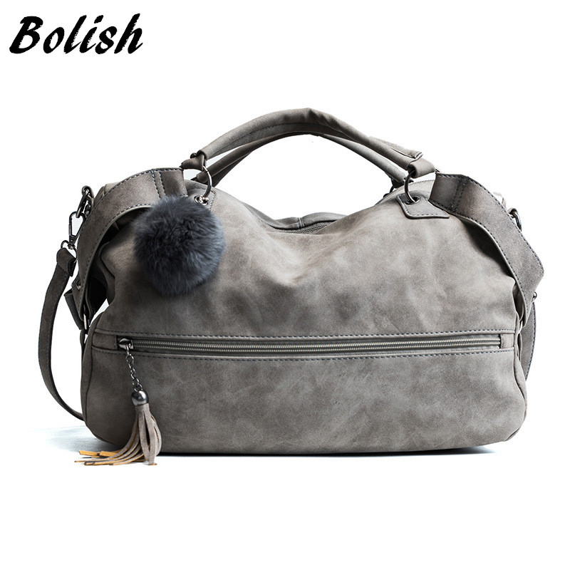 Bolish Scrub Shoulder Bags For Women Female Fashion Fur Ball Dames Tassel Lady Vintage Tassel Crossbody Bag Girl Causal Handbags