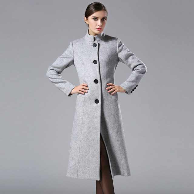 5fbb71b8b2 US $101.19 12% OFF New Autumn and Winter Women's Stand Collar Classic  Single Breasted Wool Coats Pure Color Cashmere Trench Jacket Long  Overcoats-in ...