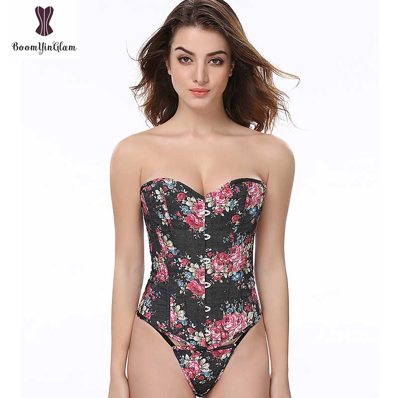 Floral Print   Corset   Black Blue Color Overbust Young Sexy Women Summer Outwear Gothic   Bustiers   And   Corsets   Front Buckle Closure