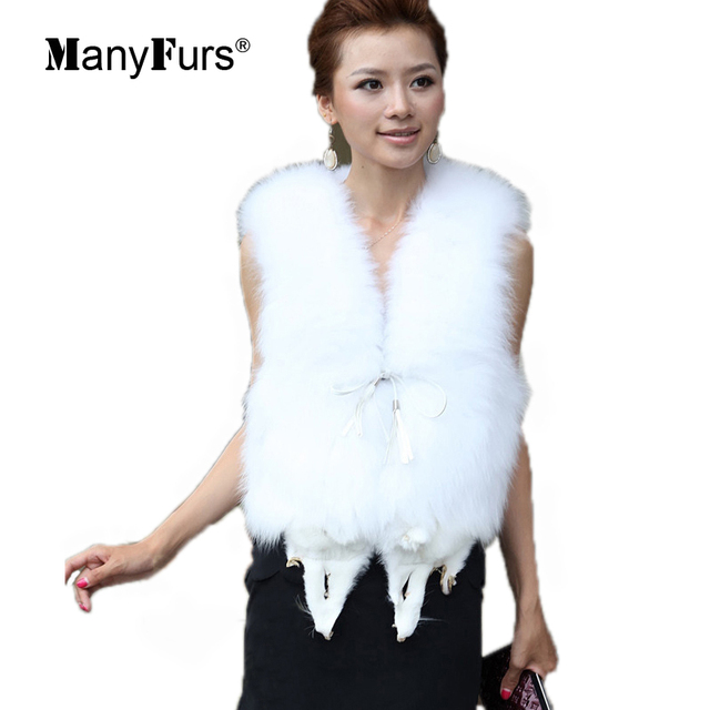 ManyFurs-2015 winter fox fur women vest coat natural furs tassel belt jackets for women white high quality luxury free shipping