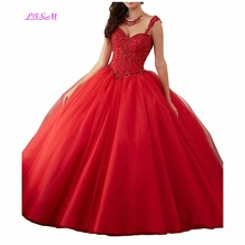 2018 New Arrival Sweetheart Women's Beaded Ball Gowns Tulle Girls 16 Quinceanera Dress Crystals Lace up Empire Prom Party Dress недорго, оригинальная цена