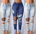 2017 Hot Sale Women Jeans Sexy Women Destroyed Ripped Distressed Slim Denim Pants Boyfriend Jeans Trousers