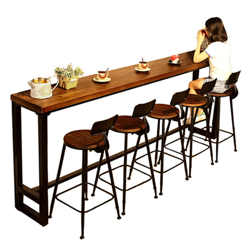 Modern Wood Metal High Bar Table Simple Home Coffee Bar Table Against The Wall Strip Side High Bar Tables