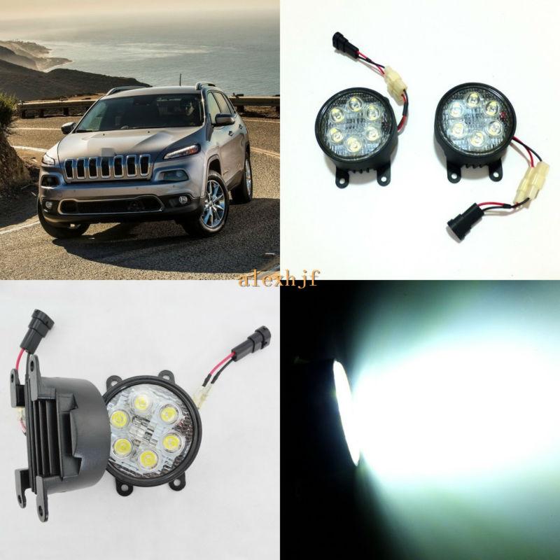 July King 18W 6LEDs H11 LED Fog Lamp Assembly Case for Jeep Cherokee Excluding Trailhawk 6500K 1260LM LED Daytime Running Lights