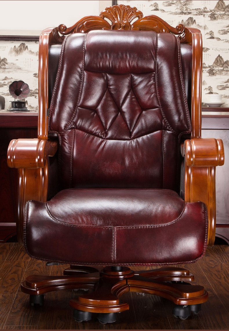 The boss chair is real leather can lie High grade large class chair Cow skin thickening massage office chair swivel chair 015 in Office Chairs from Furniture