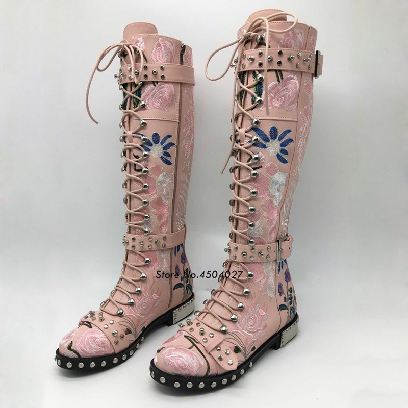 Flor Punta Alta Lace color Metal Rodilla Martin Negro color Botas Largas 2 Mujer 1 Blanco 3 Up Redonda Remache Rosa Color 4Pwvtqn0
