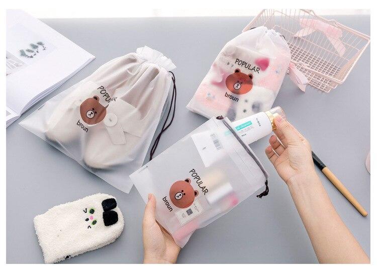 3pcs Bear Transparent Cosmetic Bag Travel Makeup Case Women Make Up Bath Organizer Storage Pouch Toiletry Wash Beaut Kit 13