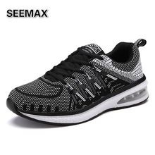 Brand Men Running Shoes Weave Breathable New Womens Lightweight Flywire Air Cushion Shoes Athletic Jogging Fitness Sneakers