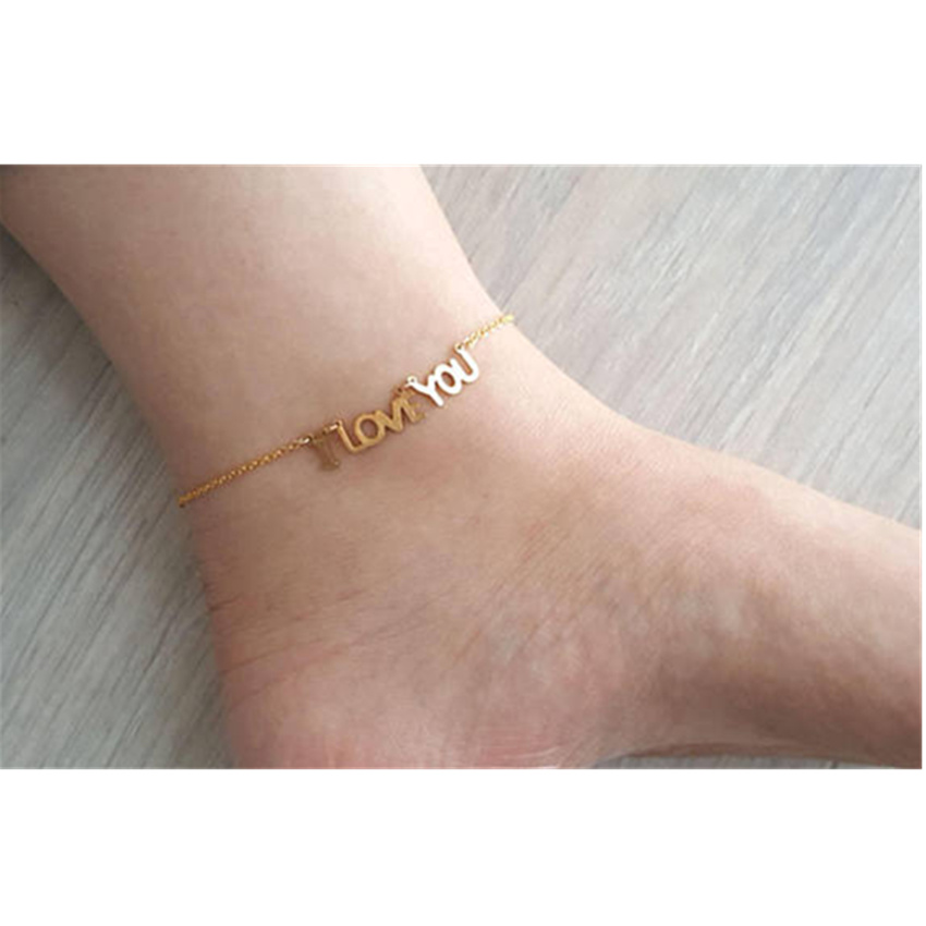 amazon anklet gold personalized dp com monogram bracelet custom initial rose ankle sizes
