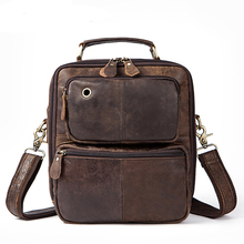 купить Vintage messenger bag men's shoulder bag Genuine Leather Men's bags leather Flap  Handle-top crossbody bag for men 8951 дешево