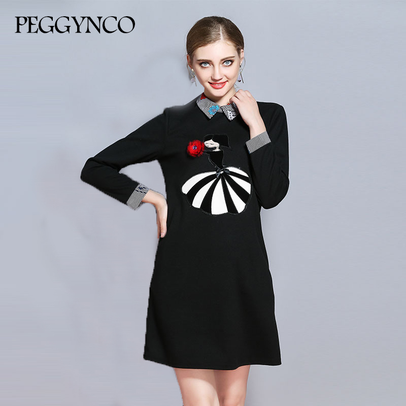 PEGGYNCO Plus Size Women Black Fashion Girl Print Patchwork Spandex Dress 2017 Autumn Female Dresses Clothing MY2017150