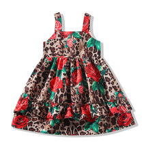 Bongawan Girls Dresses Cotton Sling Flower Dress for Clothing Summer Fashion Kids 2-8 Years Leopard For Brithday Party