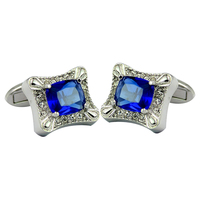 Fashion luxury shiny cuff links blue faceted stone covered twinkling cufflinks men&women western French style wedding party gift