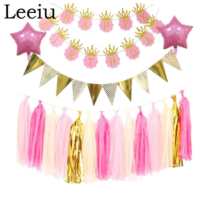 Leeiu Pink Crown Happy Birthday Banners Glitter Flags Banner Pennant Bunting Garland Baby Shower Birthday Decor Party Supplies
