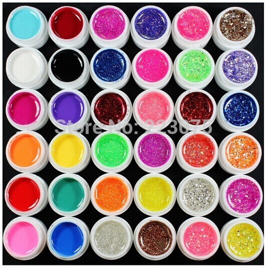 Hot 36 Pcs Mix Color Pure Glitter Hexagon Sheet UV Builder Gel for Nail Art Tip Set