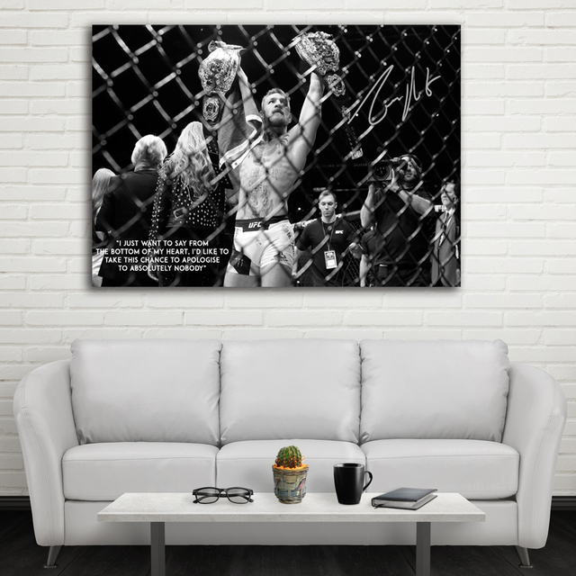 Ufc Conor Mcgregor Celebrate His Two Championship Belt Wall Picture Canvas Art Print Stretched Frame Artwork Painting