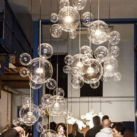 Modern minimalist designer soap bubble mickey glass ball chandelier living room dining room Hanging Lights Fixture110V 220V 230V