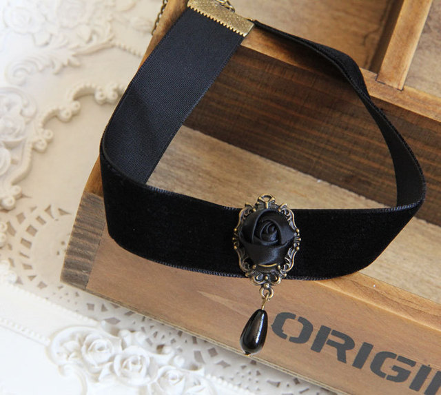 Gothic jewelry black rose necklace & pendant false collar handmade jewelry women accessories choker necklaces for women JL-157