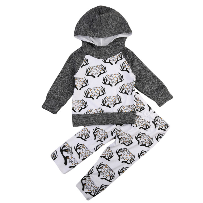 Xmas Toddler Baby Boys Girls Kids Deer Bells Print Christmas Costume Cotton Hooded Tops Sweatshirts Long Pants Home Outfits 2Pcs
