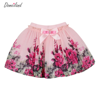 2015 Fashion Summer Kids Clothing For Baby Girls Floral Tutu Skirts Chiffon Flowers Bow Mini Skirts