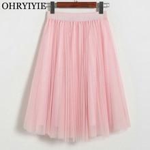 OHRYIYIE 4 Layer Voile Tulle Skirts Women 2019 Spring Summer Elastic High Waist Pleated Midi Tutu Skirt Jupe Longue Femme SK036
