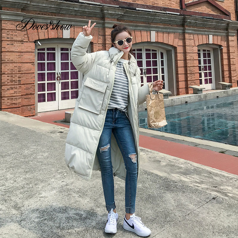 Stand Collar Winter   Down     Coat   Jacket Loose Long Warm Women Cotton-padded Casaco Feminino Abrigos Mujer Invierno Parkas Outwear