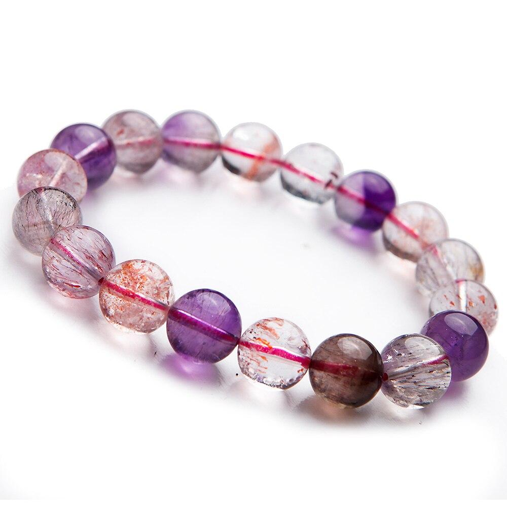 12mm naturel violet Super sept 7 Bracelet véritable Multi couleurs mélanger bijoux clair Bracelets extensibles perles rondes mélodie pierre 7