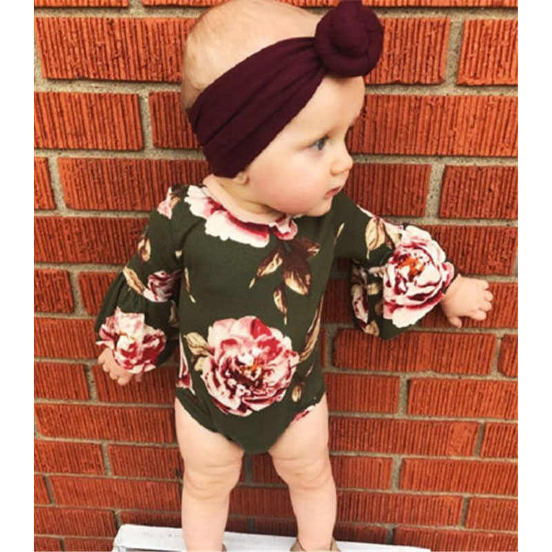 86e85b68f894 Vintage Cute Newborn Infant Kids Baby Girls Floral Army Green Flare Sleeve Rompers  Jumpsuit Clothes