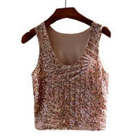 New European And American Stripe Sequin Tank Sexy Cropped Vest Summer Tops For Women LFN2857