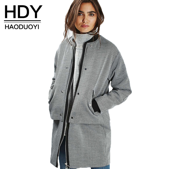 HDY Haoduoyi Fashion Plaid Slim Coats Women Long Sleeve Turtleneck Female Longline Outwear Casual Loose Zippers Trench Coats