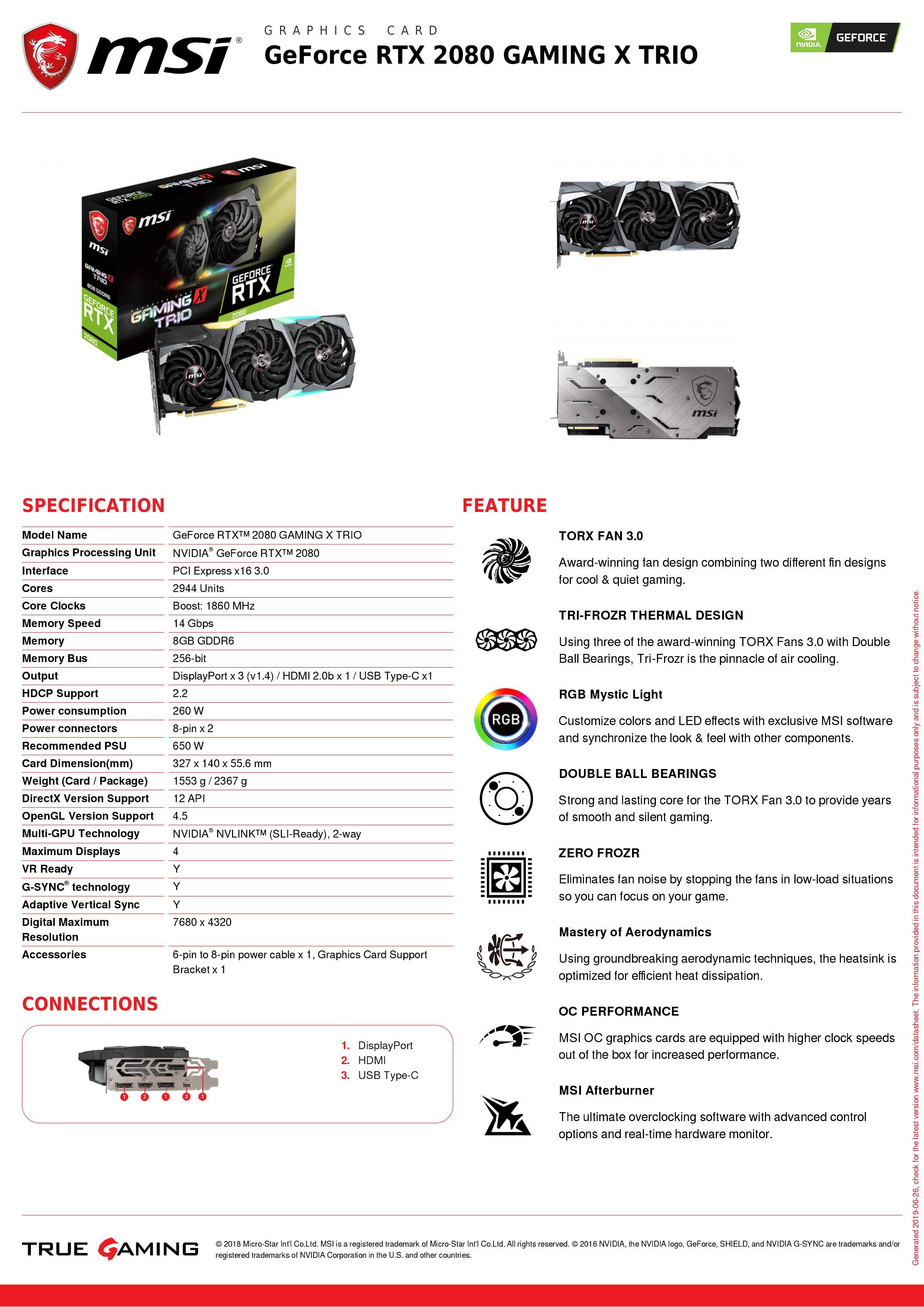 FLASH SALE] MSI видеокарта GeForce RTX 2080 GAMING X TRIO