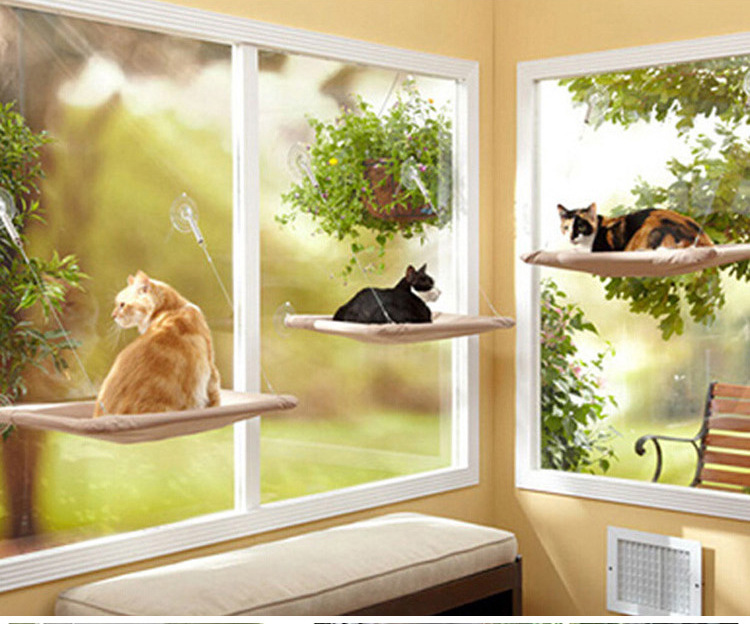 Pet Hammock Window Mounted Cat Bed Sunny Seat Machine Washable Funny Pet Cat Hanger Bed 55