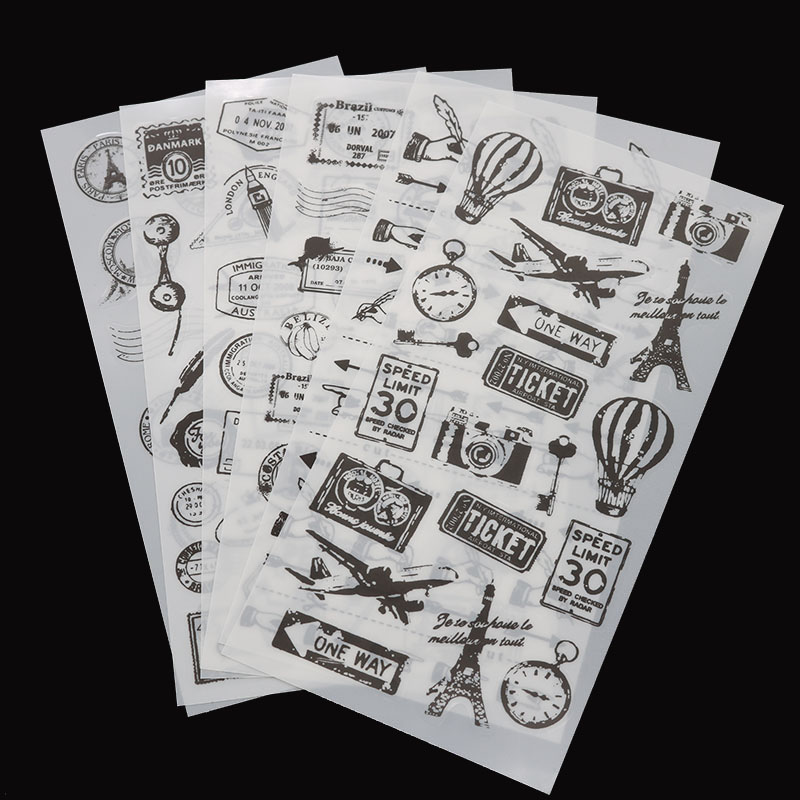 6/pack, New Life Stamp Sticker/student Stationery Black And White Decoration Diy Diary Scrapbook Boys Girls Gift Stickers